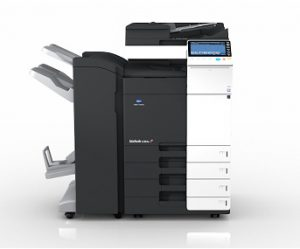 An image of a large Bizhub photocopier and printer available for lease by Paw Print Copiers.