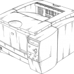 An image of a drawing of an original laser printer.
