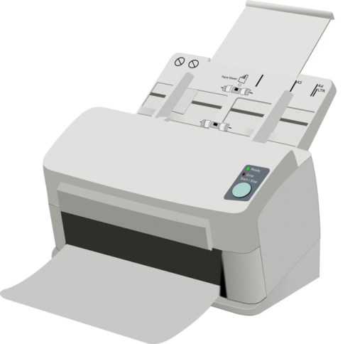 An image of a white laser printer.